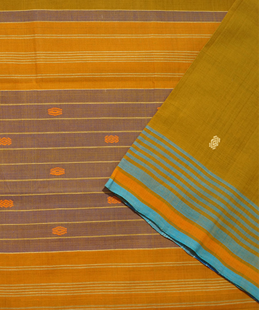Mustard Aruppukottai Handwoven Cotton Saree