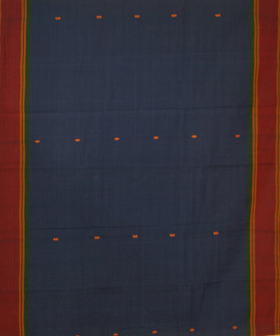 Blue Grey Aruppukottai Handwoven Cotton Saree