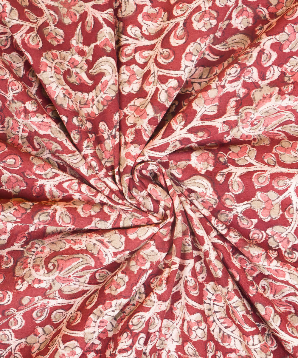Red Hand block Print Kalamkari Cotton Fabric