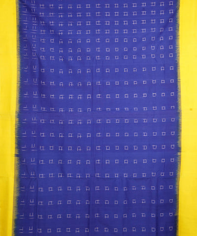 Ink Blue Handwoven Ikkat Cotton Saree