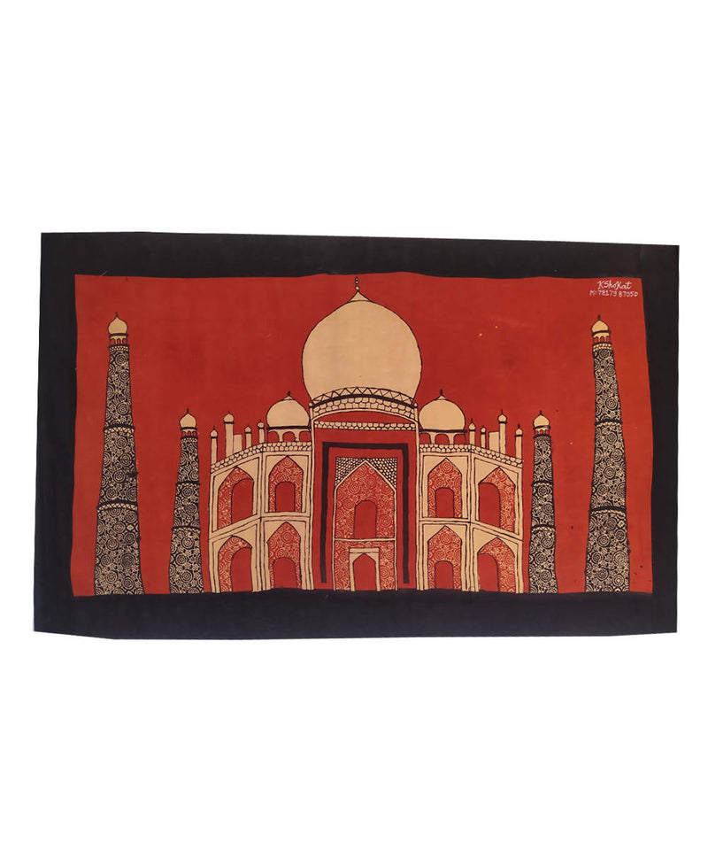 Taj mahal natural dyed ajrakh handblock printed cotton wall hanging