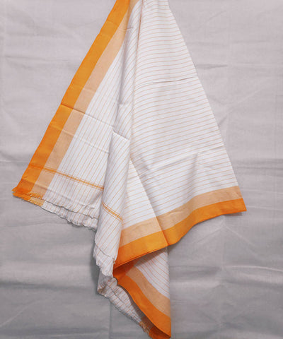 White and orange stripes handwoven cotton towel
