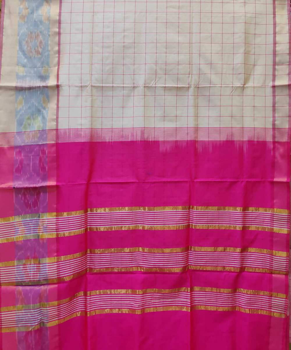 White Handloom Venkatagiri Cotton silk saree