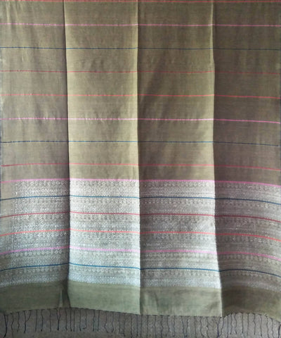 Bengal Olive Green Cotton Handwoven Saree