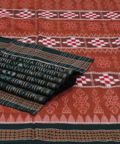 Peru Green Sambalpuri Handloom Cotton Saree