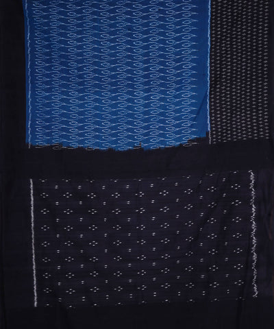 Handloom Blue Black Ikkat Cotton Saree