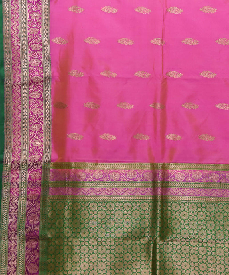 Banarasi Pink Green Handwoven Silk Saree