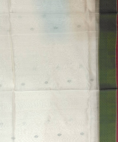 Maheshwari White Green Handloom Cotton Silk Saree
