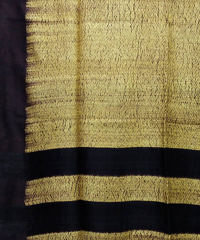 Shibori Hand Print Yellow Matka Silk Saree