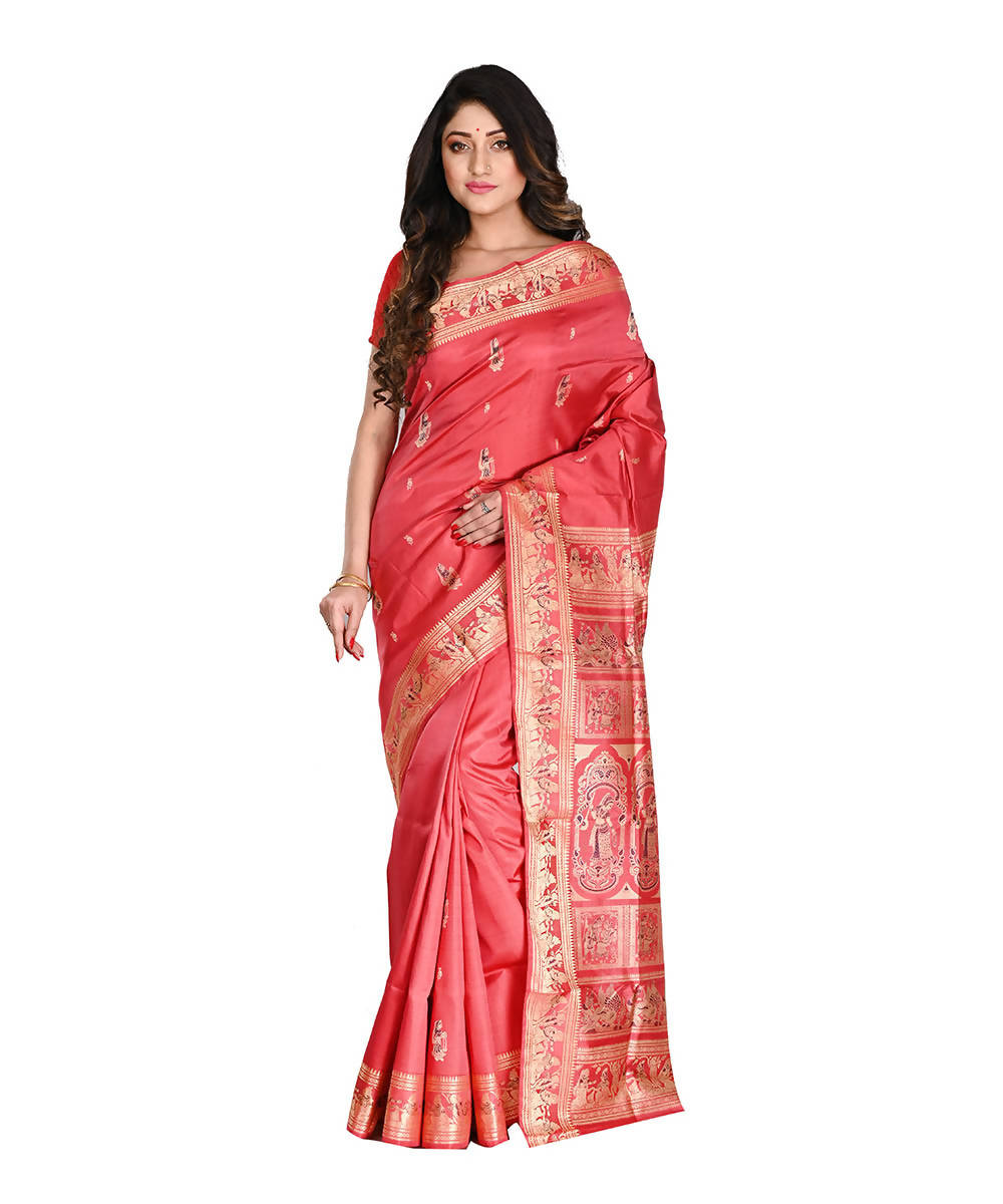 Bengal Handloom Silk Red Baluchari Saree