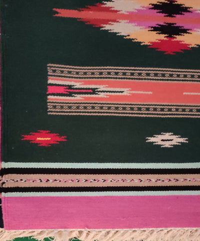 Dark Green and Pink Handwoven Interlock Cotton Dhurrie