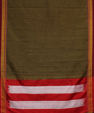 Dark Brown Checks Handloom Ilkal Saree