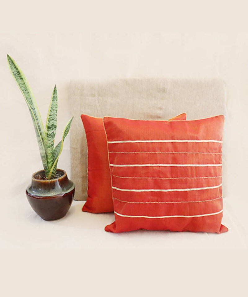 Red orange hand embroidered kota festive cushion cover