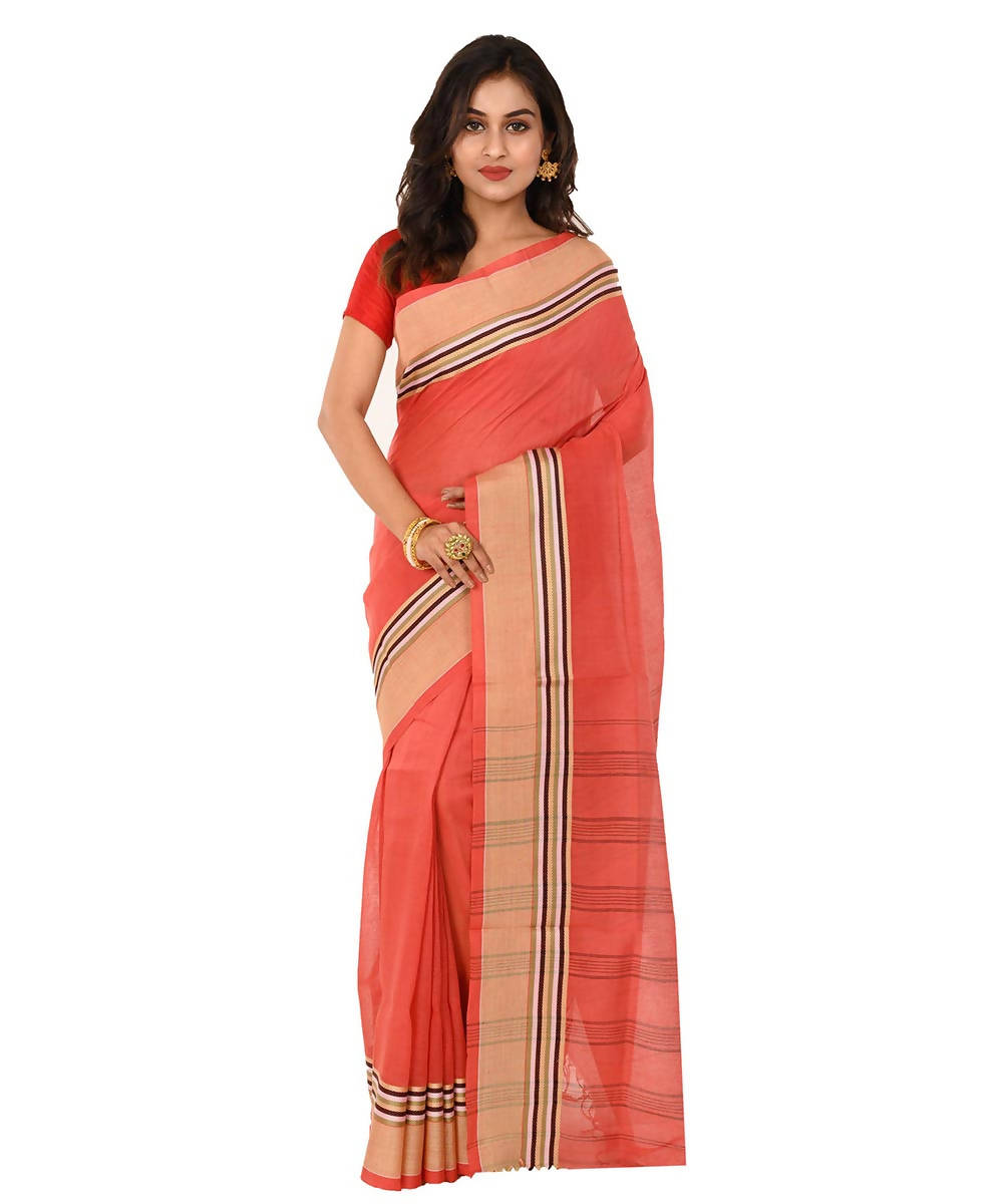 Shantipuri bengal handloom red cotton saree