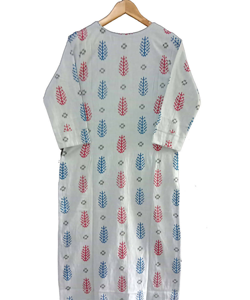 Blue white printed handspun handwoven cotton kurti
