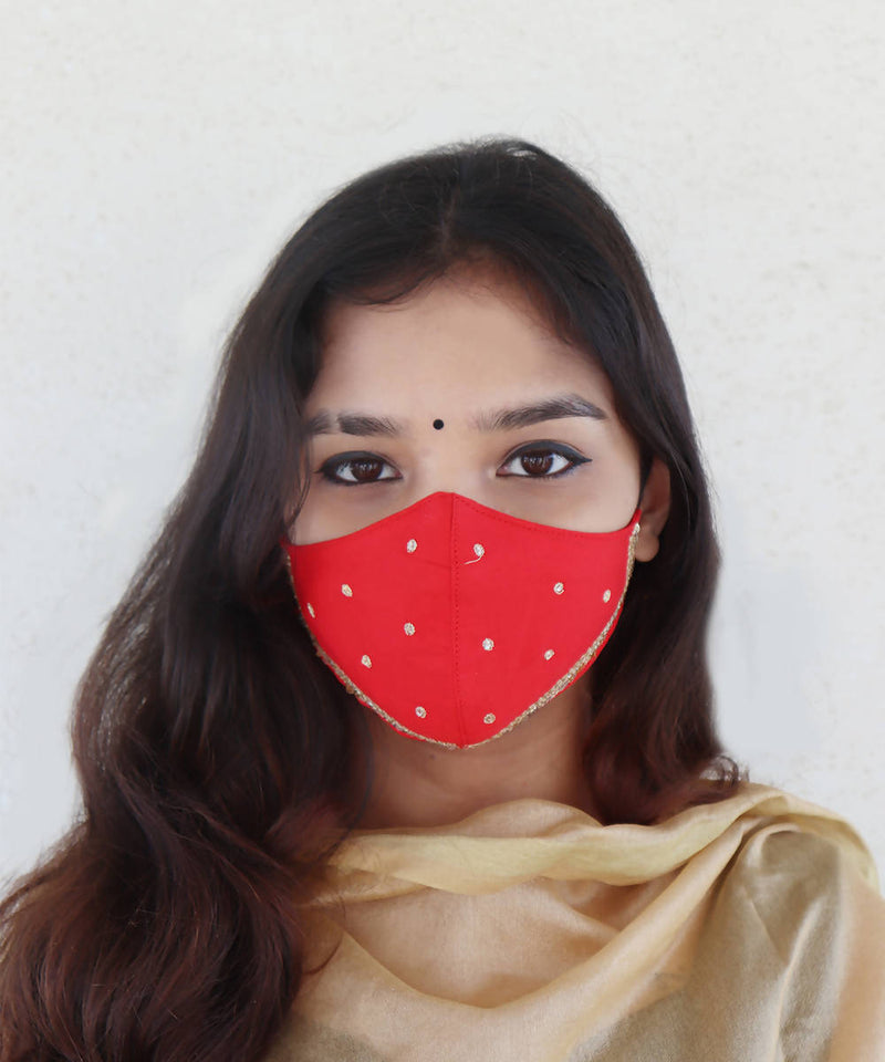 Red festive hand embroidery face mask
