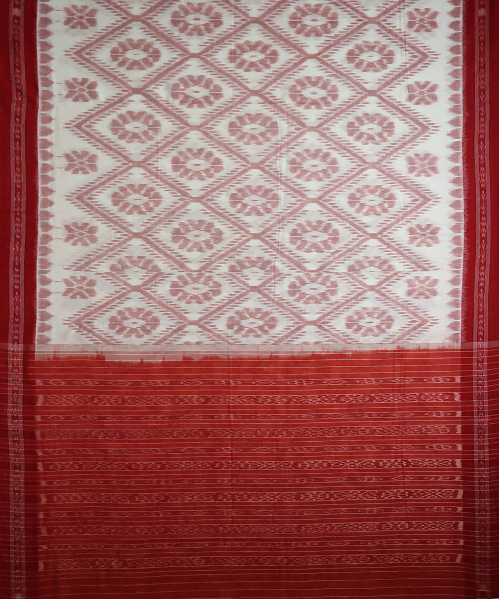 White and light red cotton handloom nuapatna saree