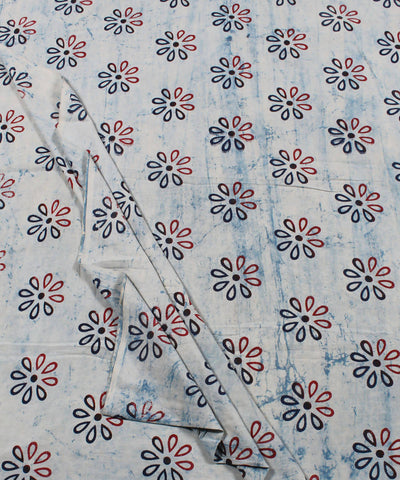 White Floral Dabu Block Printed Cotton Fabric
