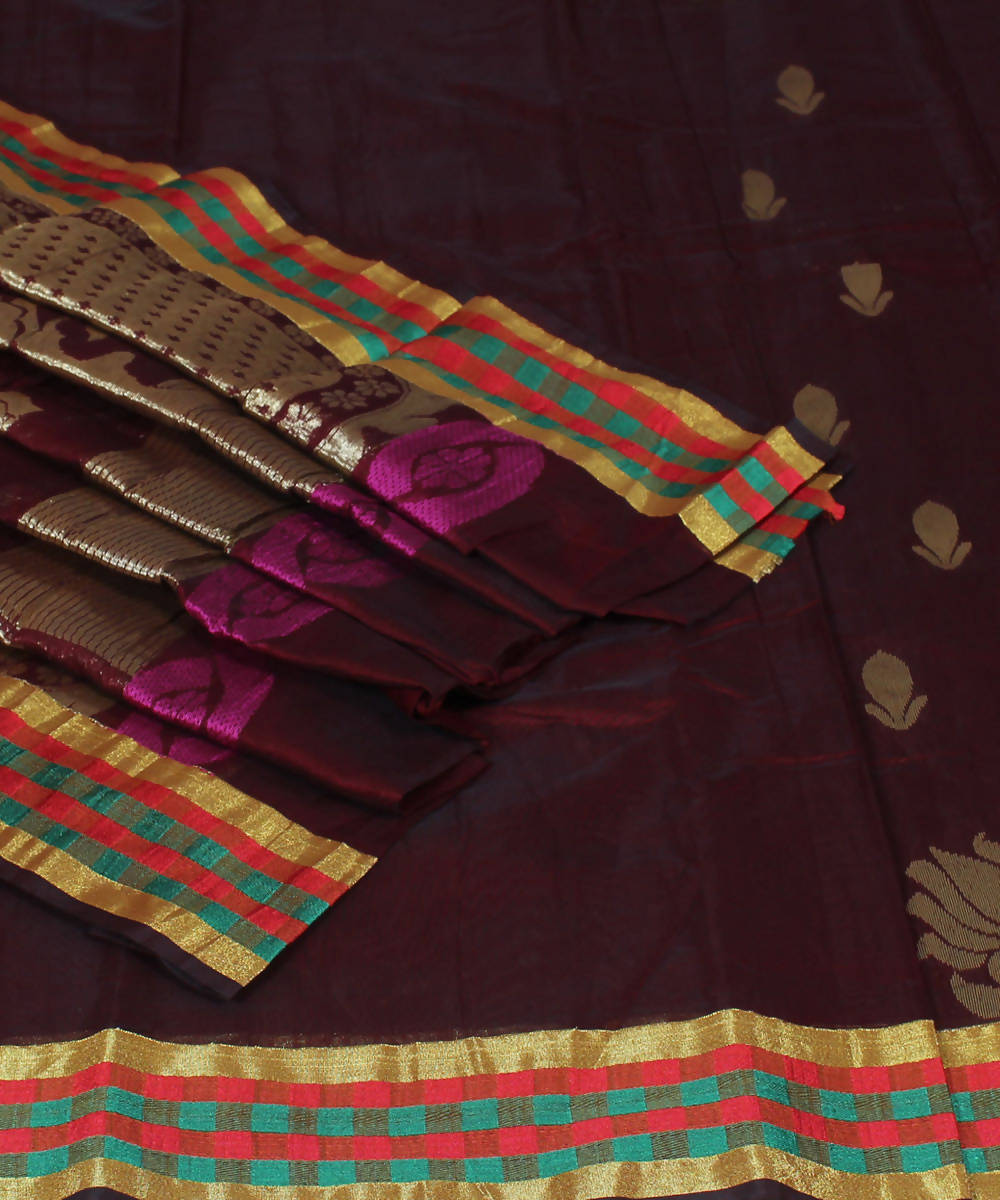 Handloom Maroon Chirala Cotton Silk Saree