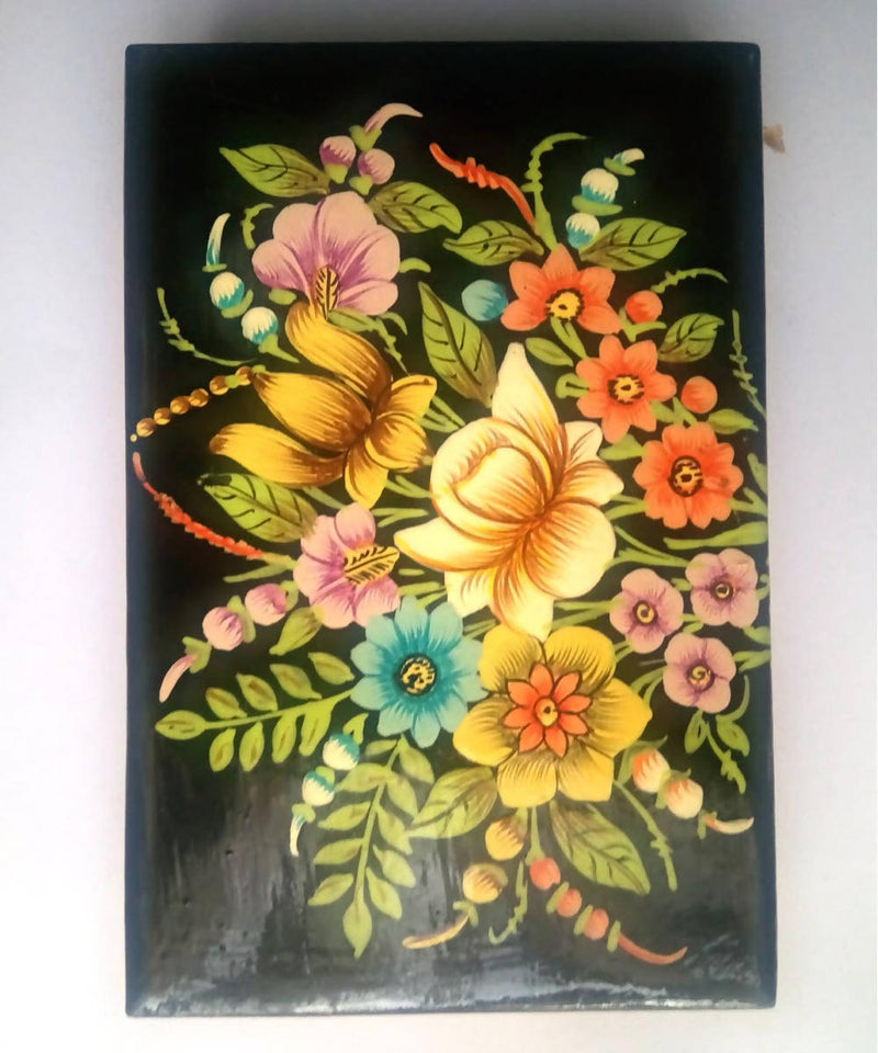 Black hand painted soft wood flat box