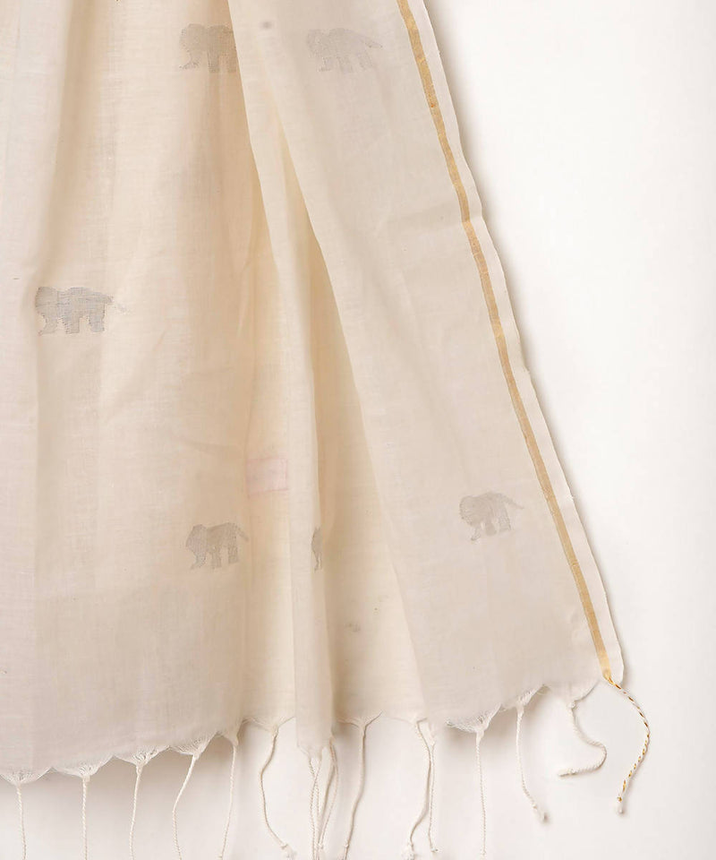 Handwoven cotton white jamdani stole