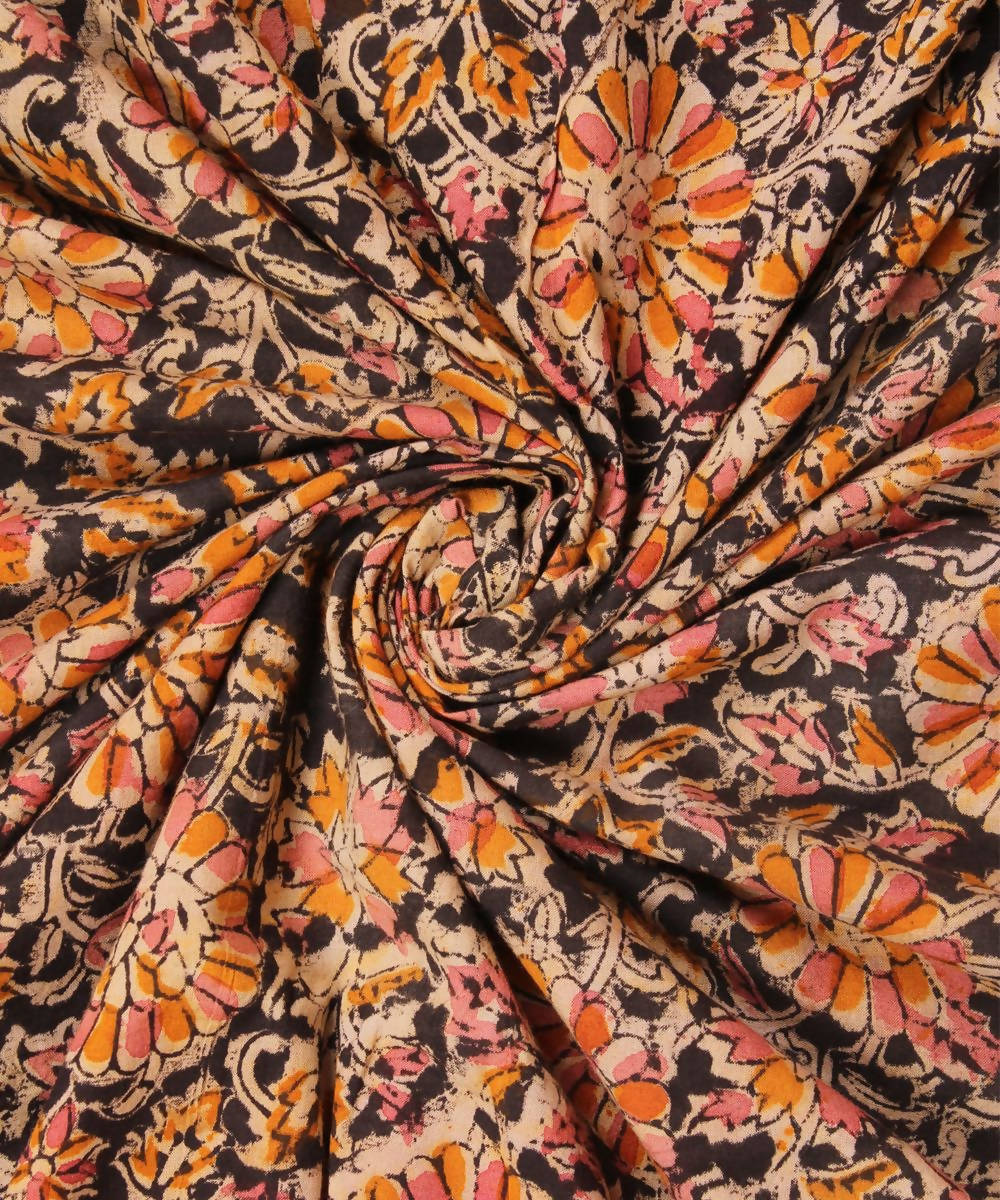 Kalamkari black Handblock print cotton fabric