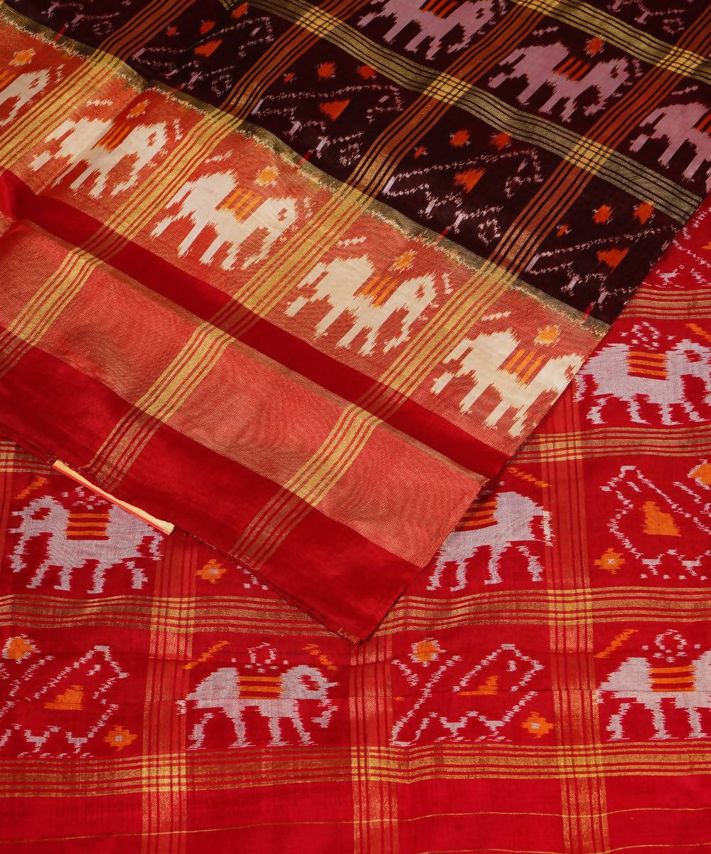 Brown Red Handloom Pochampally Silk Saree