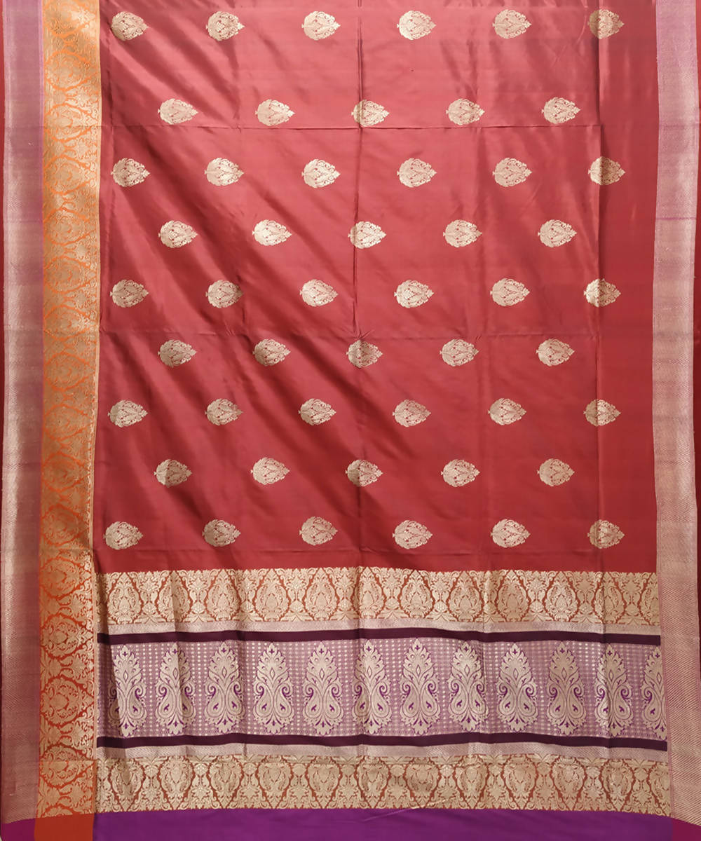 Maroon and purple handloom katan silk banarasi saree