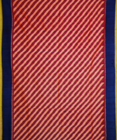 Light Maroon Blue Handloom Ikkat Cotton Saree