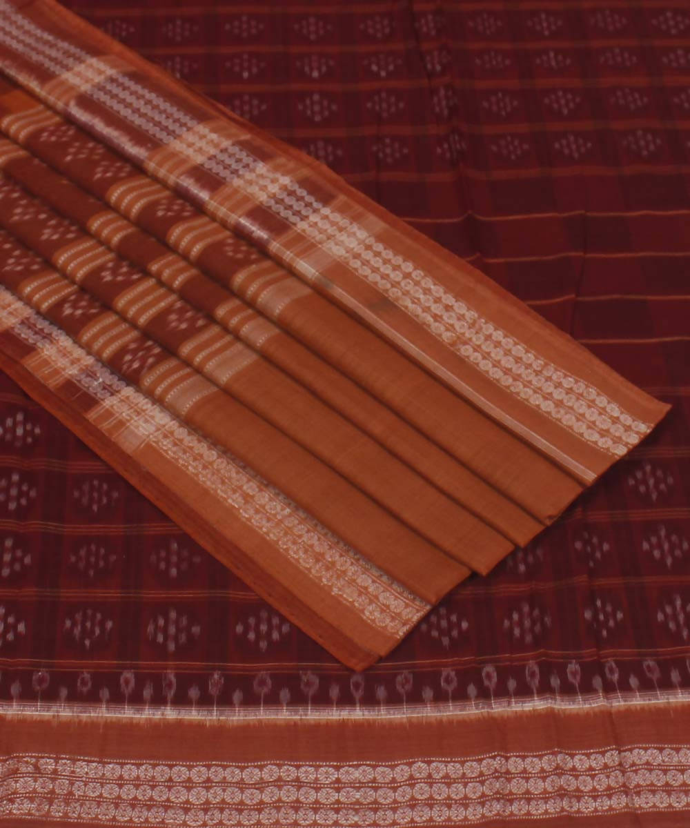 Maroon Peru Handloom Sambalpuri Cotton Saree