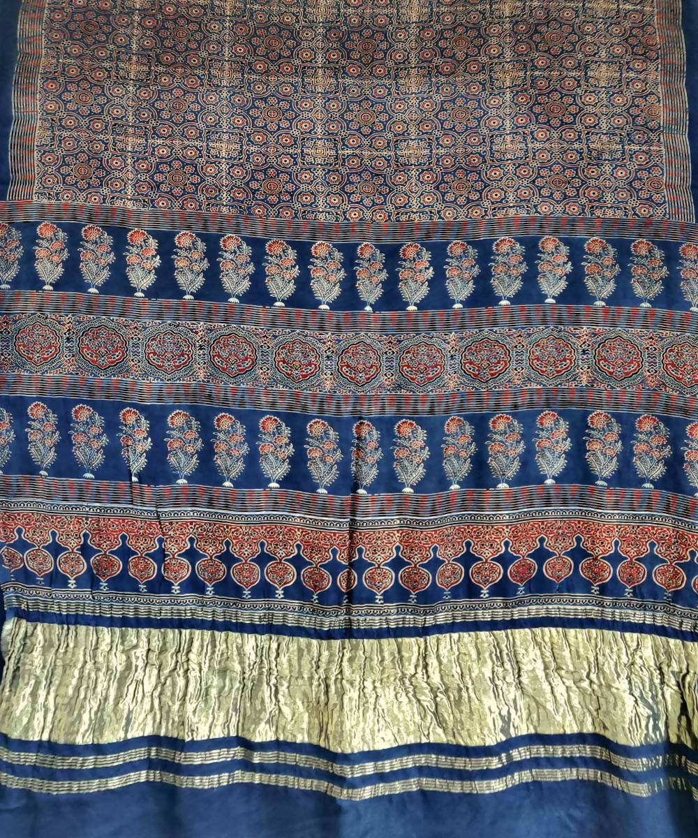 Brown blue ajrakh hand block print silk saree