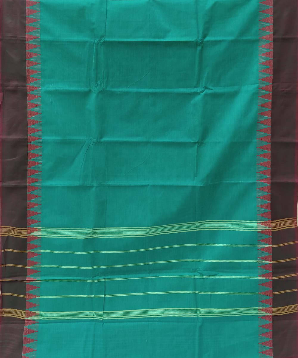 Turquoise handwoven tamil nadu cotton saree