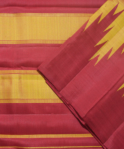 Maroon and Mustard Handwoven Arni Silk Saree