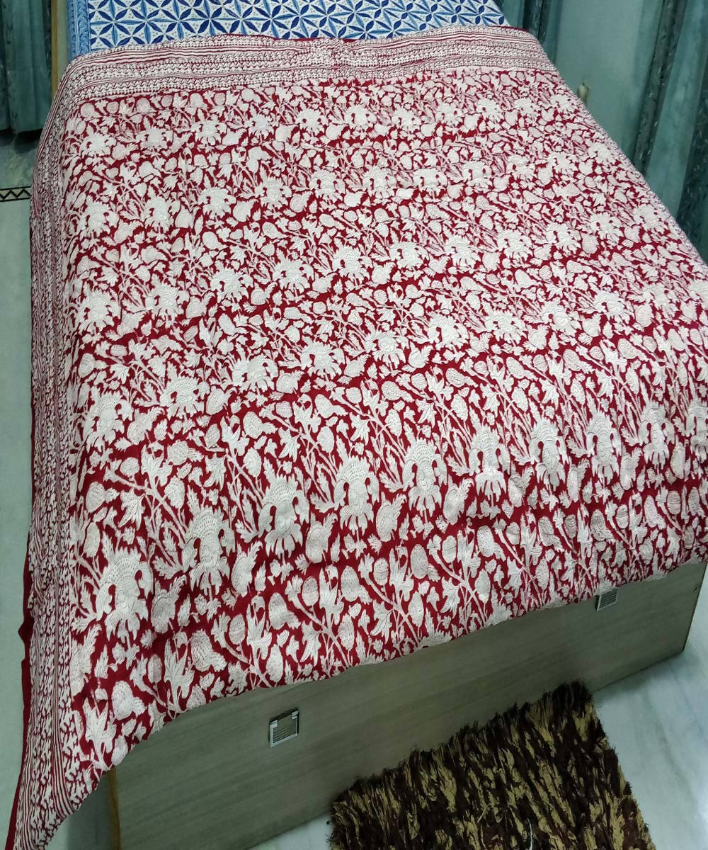 White Maroon Handblock Printed Cotton Quilt