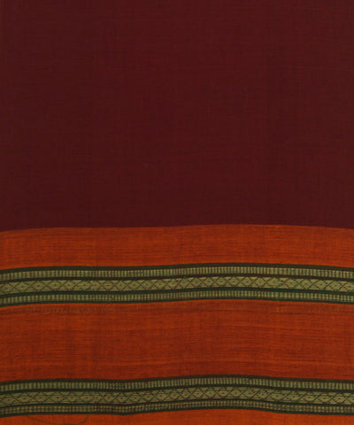 Loom World Maroon Handwoven Aruppukottai Cotton Saree