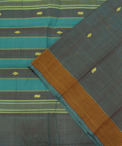 Loom World Double Color Handwoven Floral Aruppukottai Cotton Saree
