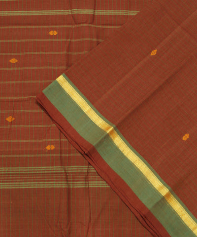 Loom World Red Striped Handwoven Aruppukottai Cotton Saree