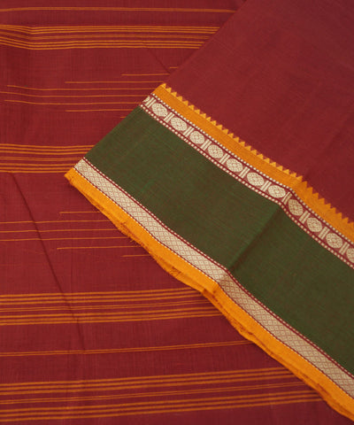 Aruppukottai Handwoven Red Maroon Cotton Saree