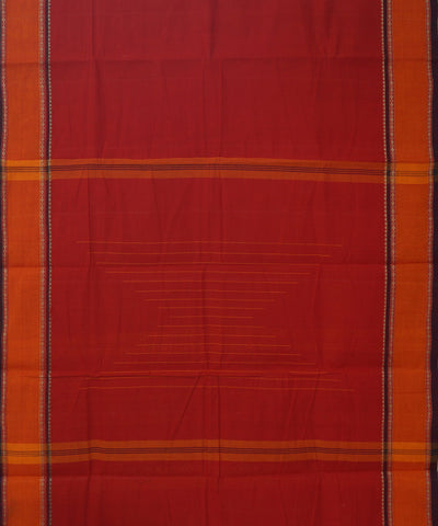 Aruppukottai Handwoven Cotton Red Saree