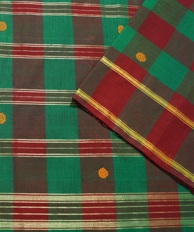 Aruppukottai Maroon Checks Handloom Saree