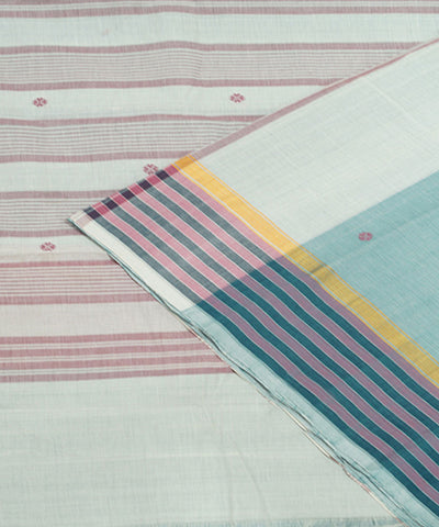Loom World Blue white Handwoven Aruppukottai Cotton Saree