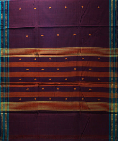 Loom World Purple Handwoven Aruppukottai Cotton Saree