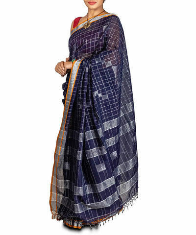 Navy blue jamdani handspun handloom cotton saree