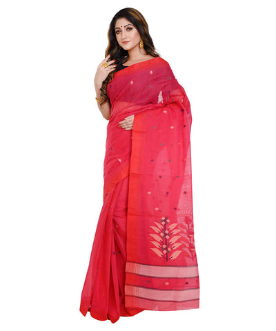 Red floral jamdani handloom cotton saree