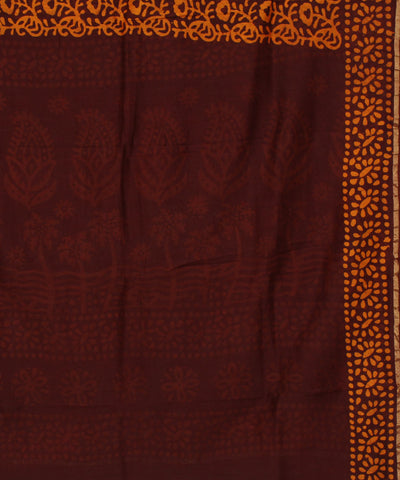 Maheshwari Batik Brown and Orange SICO Saree