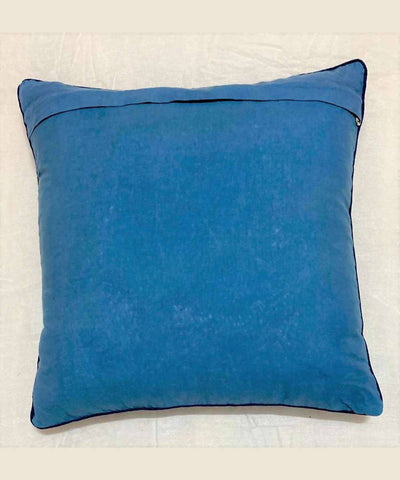 Red Hand Embroidery on cobalt blue Cushion Cover