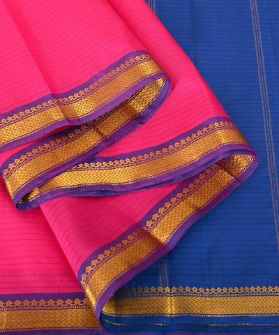 pink and royal blue Handloom kanjivaram silk saree