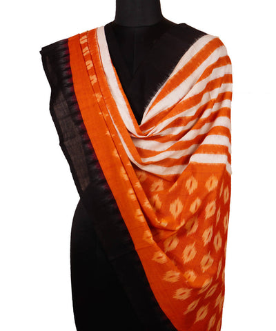 Handloom Orange Pochampally Cotton Dupatta
