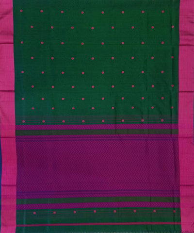 Maheshwari Dark Green Pink Handloom Cotton Silk Saree