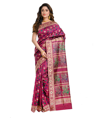 Dark purple handwoven baluchari mulberry silk saree
